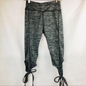 Yoga pants run athletic Capri ankle  laces gray M